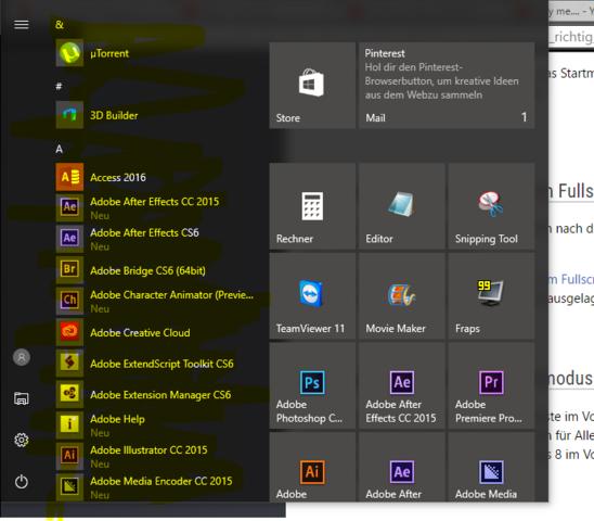 Problem - (Windows 10, Startmenü)
