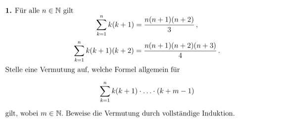Induktionsvermutung von k(k+m-1)?