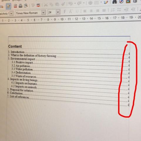Inhaltsverzeichnis bei OpenOffice?