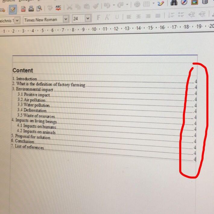 Inhaltsverzeichnis Open Office