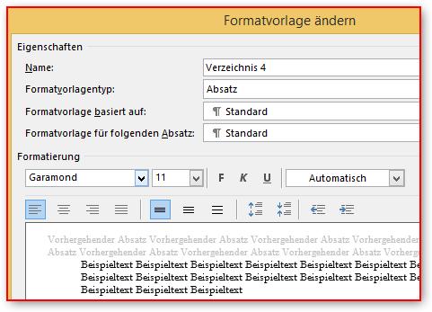 Formatvorlage der Verzeichnisebene 4 - (Word, Office, Überschrift)
