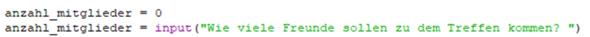 Input die Anzahl einer Variable mal abfragen -Python?