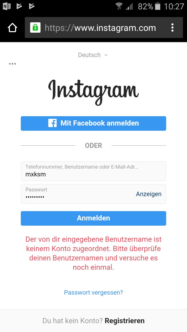Registrieren Instagram