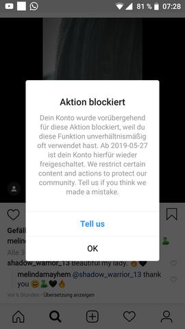 Bei instagram blockiert liken Instagram: Sperrung