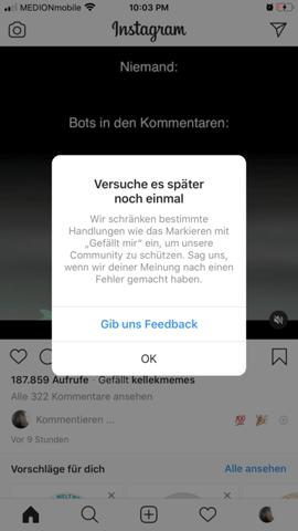 Instagram abonniert Leute und lässt mich nicht liken?