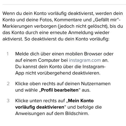 Instagram Account Vorläufig Deaktivieren Konto