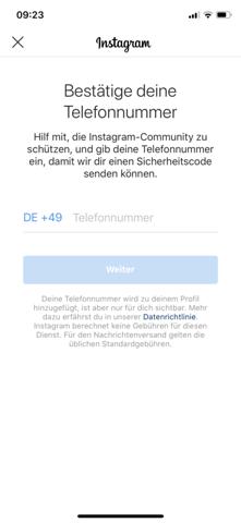 Instagram Telefonnummer