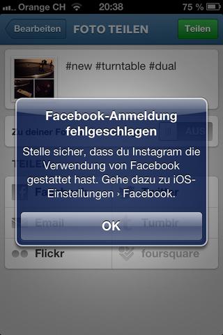 Fehlermeldung - (iPhone, Facebook, Foto)