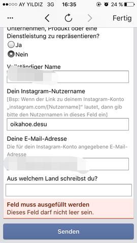 Formular - (instagram, konto-gesperrt)