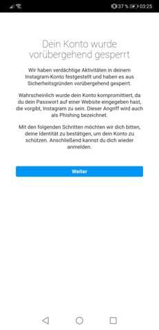 Instagram konto vorübergehend gesperrt phishing email vergessen hilfeee:(?