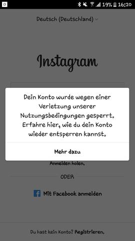 Also das kommt immer wenn ich mich anmelden will - (Internet, Instagram, Insagram sperre)
