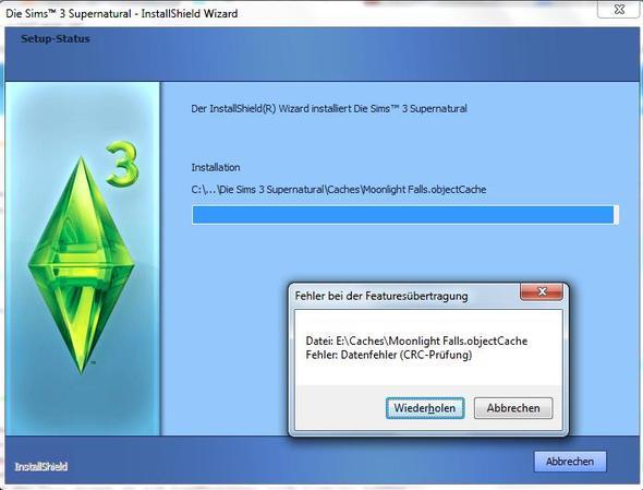 Problem - (Die Sims 3, installationsproblem, crc-fehler)