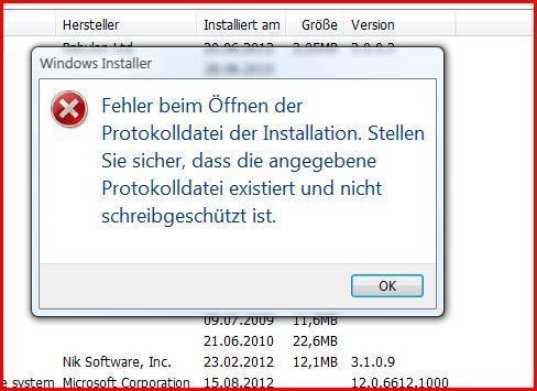 Installierte Software Fehlermeldung - (Computer, PC, Software)