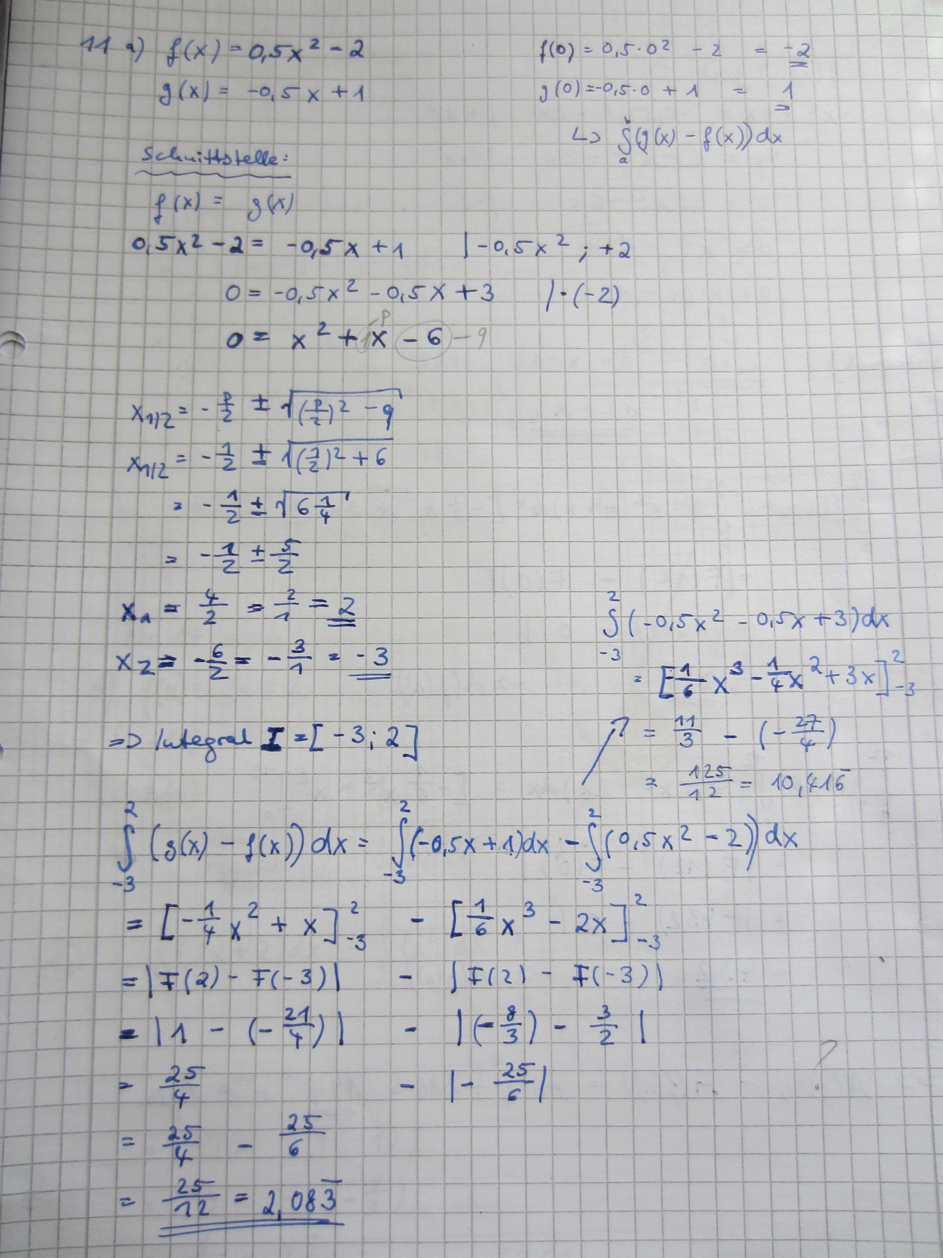 integrale (flächeninhalt zwischen zwei graphen) - wo liegt mein