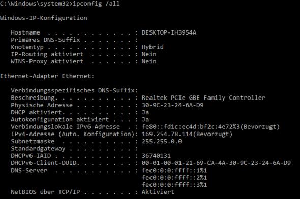 ipconfig /all - (Computer, PC, Internet)