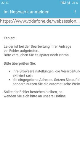Fehlermeldung - (Technik, Vodafone)
