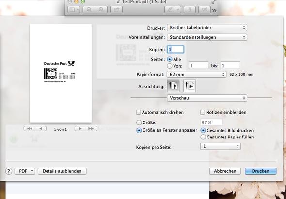 (Einstellungen unter Vorschau) - (Mac, Drucker, Etikette)