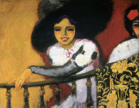 "Kees van Dongen, ""Frau am Balkon, 1911 - (bisschen verblasst) - (Kunst, Interpretation, Gemälde)"