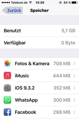 Einstellungen>Speicher & icloud nutzung>speicher verwalten - (iPhone, ios, Speicherplatz)
