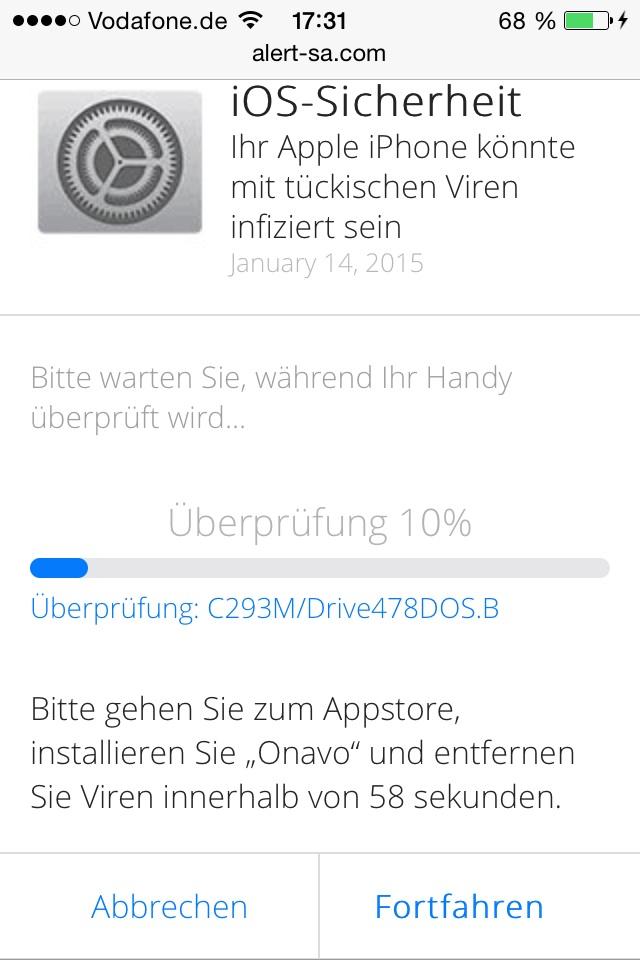 Virusmeldung Iphone