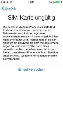 ungültige antwort iphone