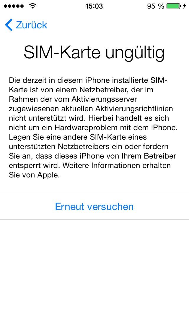 Iphone 5c Aldi Talk Ungültige Sim Handy Smartphone Sim