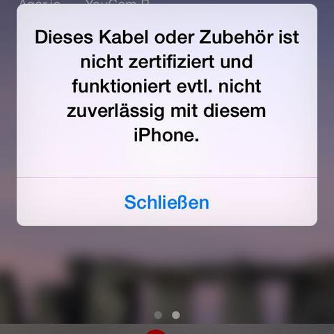 Die Meldung  - (Handy, iPhone, Fehler)