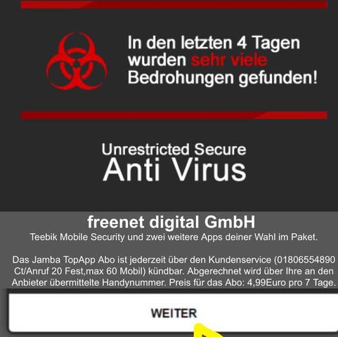 Und so eine Virus Warnung kommt beim Artikel öffnen.  - (iPhone, Facebook, Virus)