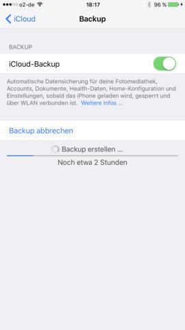 2 stunden - (iPhone, Backup, icloud)