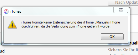 iphone nicht zu iTunes sichern