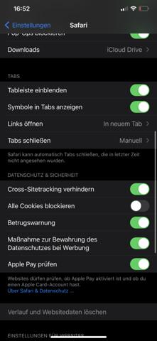 Iphone, Browser History löschen unmöglich?