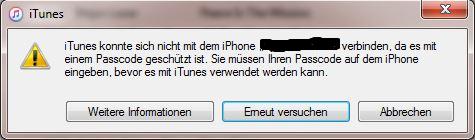 Itunes Konnte Sich Nicht Mit Dem Iphone Verbinden Da Es Mit Einem Passcode Geschützt Ist