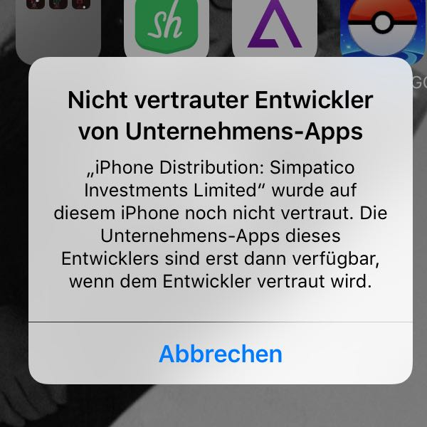 iphone app vertrauen geht nicht