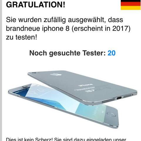 So sah die Anzeige dann aus - (iPhone, Fake, Gewinnspiel)
