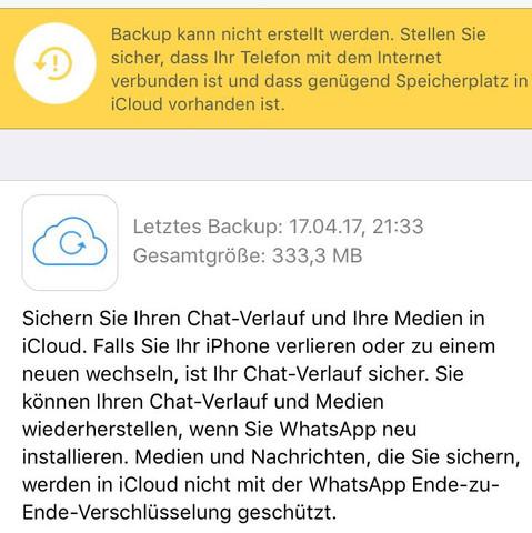 Hier sieht man das auch  - (iPhone, WhatsApp, iCloud)