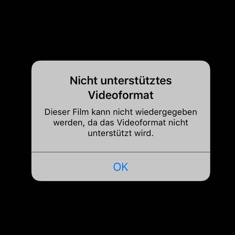 Screenshot der Fehlermeldung - (iPhone, Video, Fehler)
