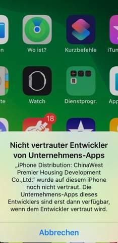 iPhone nicht vertrauter Entwickler App?