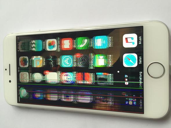 iphone6 defekt das handy ist eben auf den boden gefallen der bildschirm ist noch geht. Black Bedroom Furniture Sets. Home Design Ideas