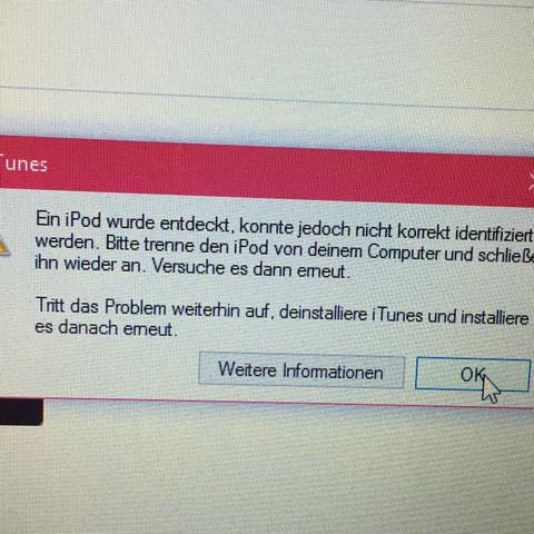 Dies erscheint, wenn ich meinen iPod anschließe  - (Computer, Technik, iPhone)