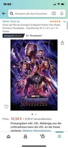 Ist bei Postern ein Bilderrahmen dabei?