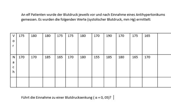 Beispiel - (Mathematik, Statistik, Wilcoxon-Test)