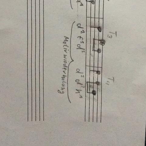 Und hier die 2 Motivwiederholung zu den ersten beiden Takten  - (Musik, Noten, takt)