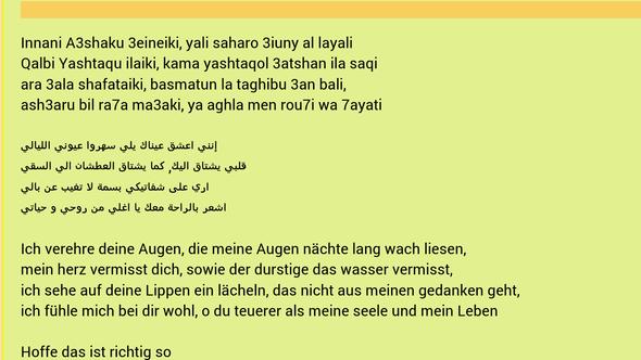 Hir ein Screenshot zu dem Gedicht und der passenden übersetzung - (Übersetzung, arabisch)