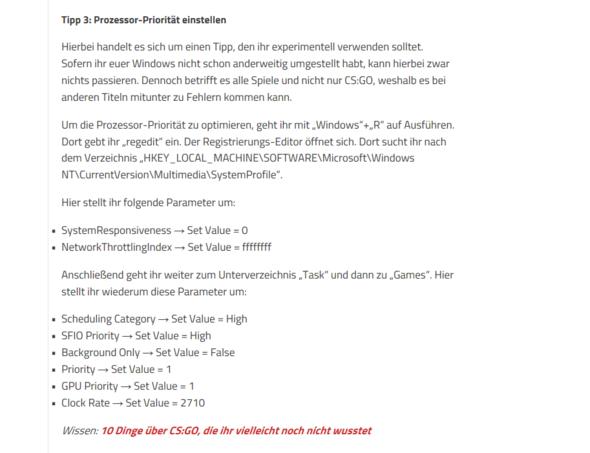 Der Vorschlag auf einer Internetseite um mehr fps für cs zu bekommen - (csgo, mehr FPS)