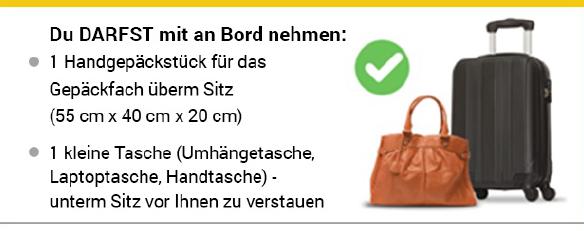 wie gross darf handtaschen bei raynair sein