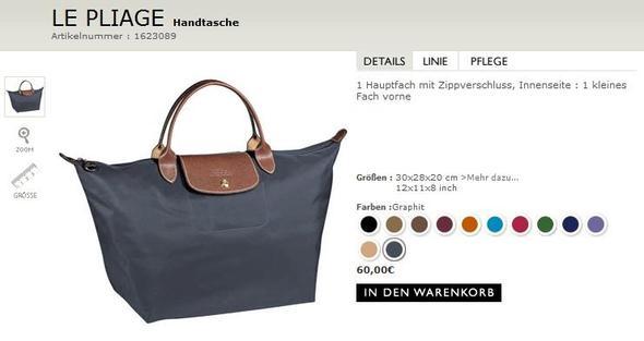 Longchamp Größe L