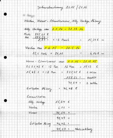 Miet Nebenkosten Abrechnung - (Miete, Nebenkosten)