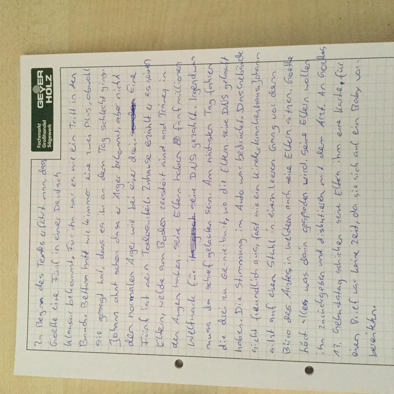 Ist diese Inhaltsangabe gelungen zum Text Goethe hat eine fünf in ...