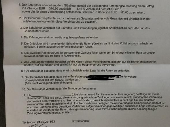 Ist Diese Vereinbarung Vom Inkasso Rechtens Rechnung Schulden