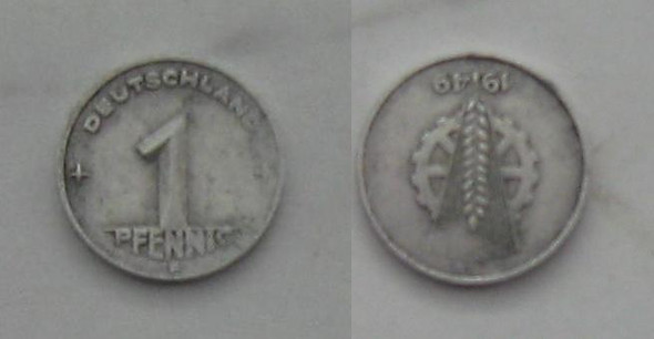 1 Pfennig 1949 E 180° Stempeldrehung - (DDR, Muenzen, Stempeldrehung)